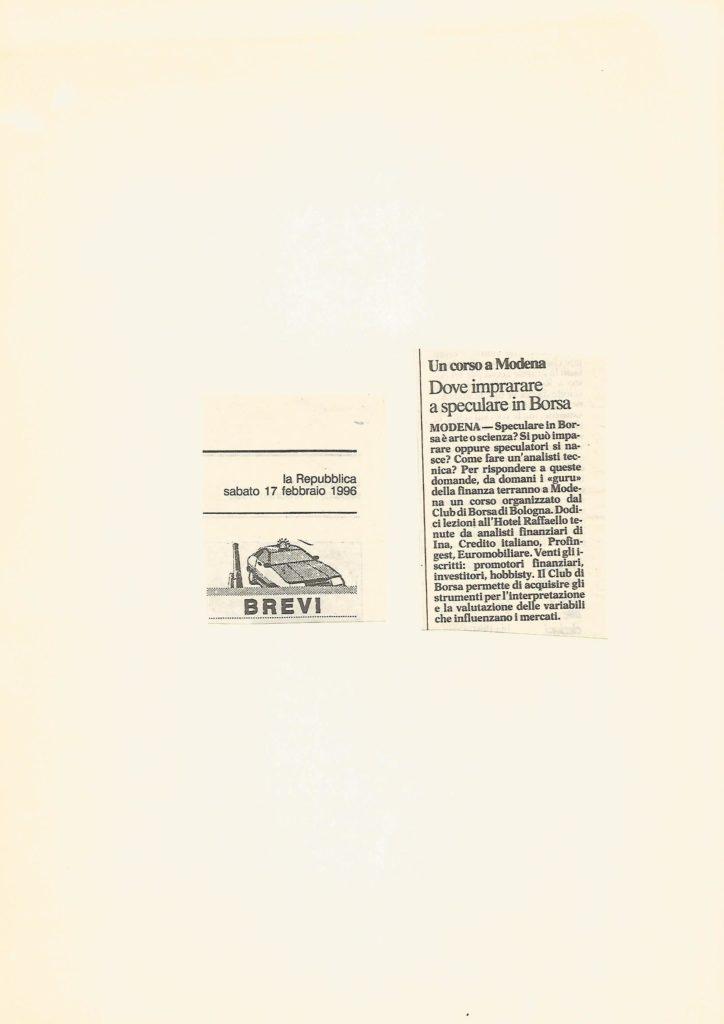 1996 17 FEBBRAIO LA REPUBBLICA CORSO DI ANALISI RAFFAELLO MODENA