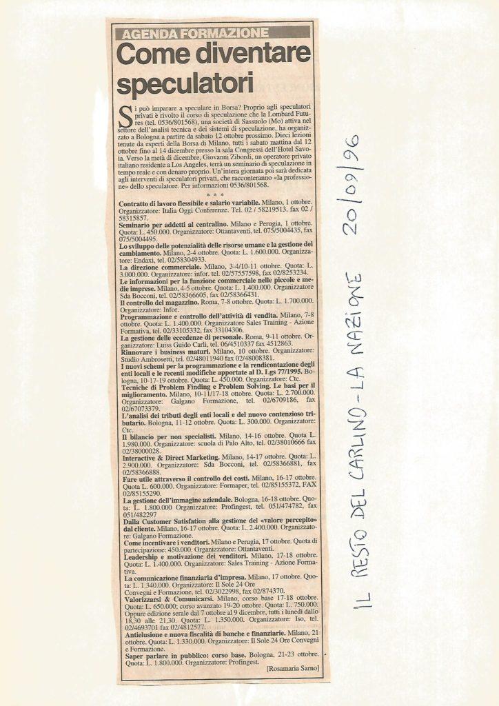 1996 20 settembre il resto del carlino la nazione il giorno COR