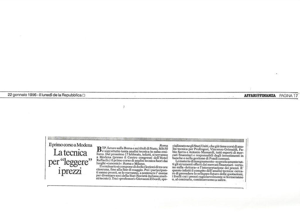 1996 22 gennaio corso AFFARI & FINANZA DI REPUBBLICA