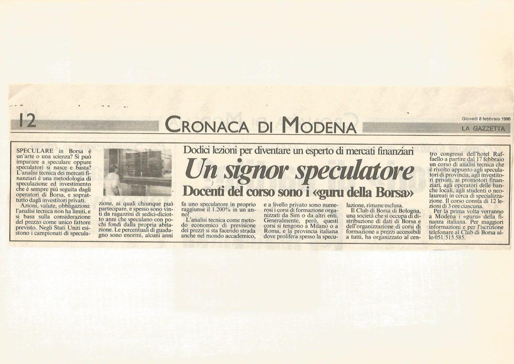 996 8 FEBBRAIO CORSO DI ANALISI TECNICA GAZZETTA DI MODENA